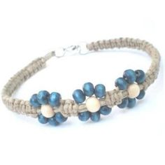 Beach Bella Blue Beaded Hawaiian Inspired Hemp Flower Anklet
