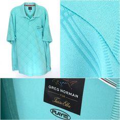 Greg Norman Tasso Elba Play Dry Polyester Teal Shark Logo Polo Shirt Men 2XL XXL #GregNorman #PoloRugby