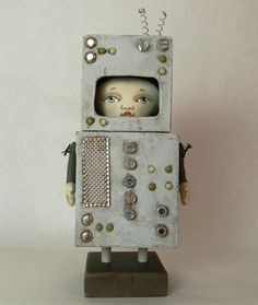 LAST ONE Little Robot Original Contemporary by cartbeforethehorse, $180.00