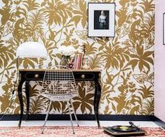 """Pierre Frey's passion for creative and colorful designs is evident in this season's wallpaper collection, """"Les Dessins The inspiration of the collection is found in artistic favorites, Pierre Frey fabrics, and archival reinterpretations. Gold Wallpaper, Print Wallpaper, Eames, Pierre Frey Fabric, Custom Carpet, Iron Gates, Tropical Garden, Monkey, Gallery Wall"""