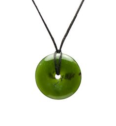 Green Jade Small 'Circle of Life' Necklace : Mountain Jade New Zealand, 24 mm wide, 48.00