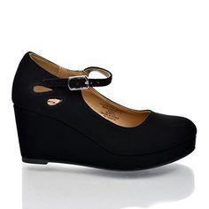 TyleeIIS Black Children's Almond Toe Mary Jane Platform Cut Out Dress Wedge Heel from Aquapillar