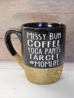 Mom Life Mug Mom Glitter Mug Momlife Cup MomLife by PolkadotDaisee