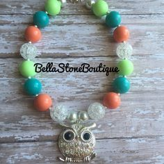 Sparkly owl children's chunky necklace. RTS by BellaStoneBoutique