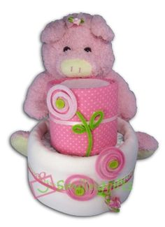 Mini Girl Diaper Cake. Perfect soft pink look for a cute newborn baby girl! Gift it on a baby shower or the first time you meet the baby.