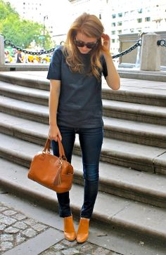 J.Crew Collection top and Rag & Bone jeans.