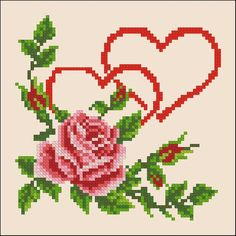 Hearts with roses cross stitch pattern PDF Embroidery hoop art Cross stitch design Embroidery heart Hearts and roses Flowers roses stitch Cross Stitch Heart, Cross Stitch Borders, Cross Stitch Flowers, Cross Stitch Designs, Cross Stitching, Cross Stitch Patterns, Embroidery Hearts, Embroidery Hoop Art, Cross Stitch Embroidery