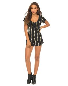 2a2e438550f Button Down Black Floral Printed Playsuit with Scoop Neck