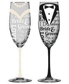 #Hand-painted bride and #groom #champagne flutes - set of 2,  View more on the LINK: http://www.zeppy.io/product/gb/2/142206424375/