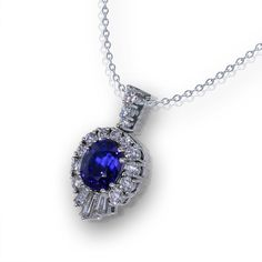 If you are searching for a Stunning Sapphire Necklace, you must see this rare 5 carat Sapphire diamond pendant created from platinum by master jewelers. Diamond Necklace Simple, Sapphire Necklace, Sapphire Jewelry, Heart Pendant Necklace, Diamond Pendant, Diamond Necklaces, Tanzanite Jewelry, Sparkly Jewelry, Modern Jewelry