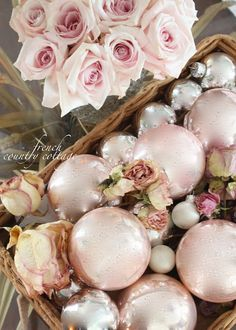 pink roses, home tours, country cottages, pink christmas, ornament, pale pink, cottage christmas, french country, flower
