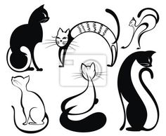 Vinilo para Paredes black cat.set of cats s in different poses - pintura • PIXERS.es