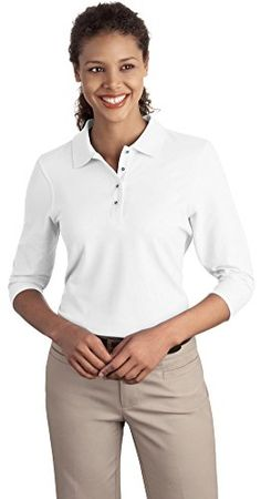 3a4ddeff386 Women s Polo Shirts - Port Authority Ladies Silk Touch 34Sleeve Polo    You  can get