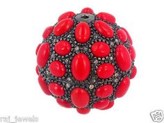 #Coral #Spacer #Jewelry #Finding #Ball #Bead #Gemstone #Jewellery #Auction #New #1 #26mm #Sterlingsilver #Diamond