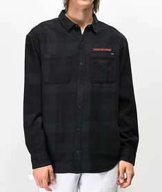 Layer up this season with the latest from Broken Promises and grab their Bar Logo black flannel shirt. Designed with a classic plaid print pattern in the colors of black, purple and dark grey, this garment exhibits a classic button up shirt silhouette. Black Flannel Shirt, Oversized Flannel, Flannel Jacket, Flannel Dress, Flannel Outfits, Red Flannel, Plaid, Teen Fashion Outfits, Tween Fashion