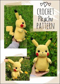 PIKACHU CROCHET PATTERN - Detective Pikachu Amigurumi Pdf pattern - Pokemon Crochet Pattern - Plush Pokemon Pikachu