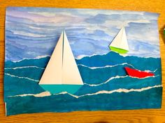 Texture color form space: paint water and tear paint sky and glue water on make origami boats and glue on or collage together boats. Art 2nd Grade, Grade 1, Arte Elemental, Classe D'art, Space Painting, Ecole Art, School Art Projects, Summer Art Projects, 3d Art Projects