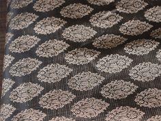 Silk Brocade Fabric in Dark Grey and Gold Motifs Pattern Weaving