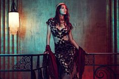 Samantha Gradoville wears Maxi Dress and Vintage Moondance Velvet Shawl with goth trend for lookbook photoshoot