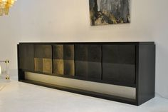 Rare Modernist Ebonized Oak Belgian Sideboard, 1970s | From a unique collection of antique and modern credenzas at https://www.1stdibs.com/furniture/storage-case-pieces/credenzas/