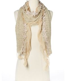 Look at this #zulilyfind! Beige Flower Scarf #zulilyfinds