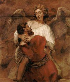 Rembrandt van Rijn - Jakob's fight with the angel
