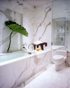 marble squares with messy vein pattens AVE - traditional - bathroom - new york - Peter Tow Carrara Marble Bathroom, Marble Bathtub, Calcutta Marble, White Marble Bathrooms, Gold Bathroom, Bathroom Interior, Calacatta Gold, Eco Bathroom, Statuario Marble