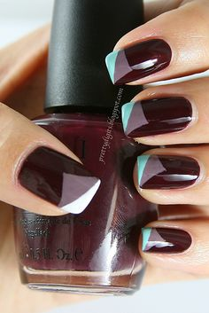 Peeling nail color ~ medium shade as base color, TAPE for corner swipe with the lightest, TAPE & top with darkest