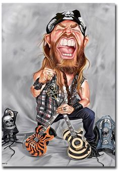 "$4.5 - Zakk Wylde Black Label Society Caricature Fridge Magnet Size 2.5"" X 3.5"" #ebay #Collectibles"