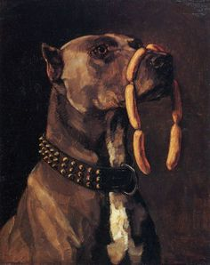 Wilhelm Trübner, Dogge mit Würsten. Ave Caesar morituri te salutant, 1877