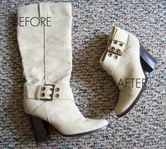 Easy Boot Makeover -- Not feeling those knee-high boots? Turn them into ankle boots in a few easy steps.