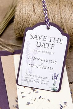 Lavender inspired Save The Date tags.