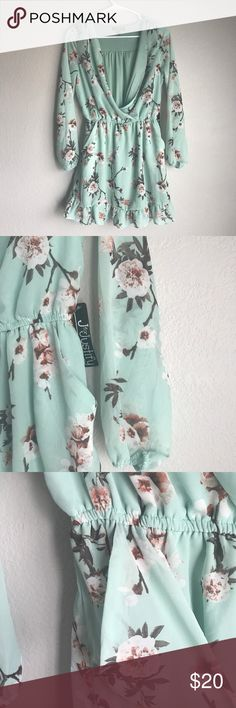 NWT Mint Floral Dress Floral dress in mint color by J for Justify. Lined 100% polyester both shell and lining. Open front. Sheer sleeves. Ruffled button. Size M Dresses Mini