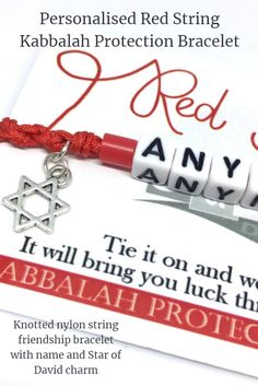 Personalised Red String Bracelet, Kabbalah Bracelet, Protection Bracelet, Star of David Charm Bracelet, Jewish Star Charm Wish Bracelet Handmade Jewellery, Handmade Bracelets, Boho Jewelry, Handmade Shop, Handmade Gifts, Wedding Favor Inspiration, Red String Bracelet, Wish Bracelets, Handmade Christmas Gifts