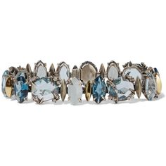 Alexis Bittar Sterling silver, quartz, topaz and diamond bracelet ($1,480) ❤ liked on Polyvore featuring jewelry, bracelets, silver, diamond jewellery, diamond jewelry, white quartz jewelry, sterling silver diamond jewelry and 18k jewelry
