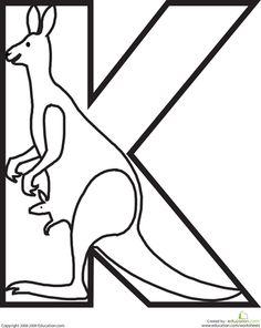 Preschool The Alphabet Animals Worksheets: Letter K Coloring Page Abc Crafts, Alphabet Crafts, Alphabet Art, Animal Alphabet, Letter A Crafts, Alphabet Activities, Preschool Activities, Spanish Alphabet, Alfabeto Animal