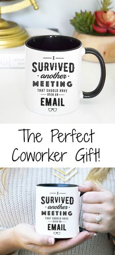 """Quit with all the meetings already! This funny """"I survived another meeting that should have been an email"""" mug is the perfect gift for a coworker or boss. This cute and sassy work mug will surely cause some laughs and raise some eyebrows at the office. 