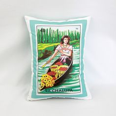 Chalupa canoe/boat Loteria Pillow Cover with by PillowandPocket