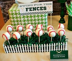"""Houndstooth Vintage Baseball Party with adorable """"hamburger"""" cupcakes and """"french fry"""" cookies, cute baseball cake pops and baseball jersey inspired cake. Vintage Baseball Party, Baseball Birthday Party, Sports Birthday, 1st Birthday Parties, Boy Birthday, Sports Party, Birthday Ideas, Birthday Display, Birthday Cake Pops"""