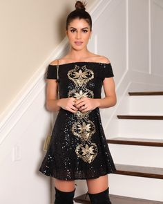 camila coelho little black dress sequin party holiday look