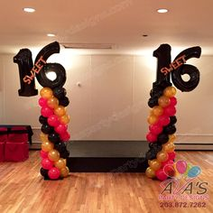Red, black and gold Sweet 16 Balloon Column with numbers and lettering details #partywithballoons