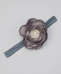 Look at this #zulilyfind! Gray Flower Rhinestone Headband by Olivia Rae #zulilyfinds