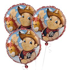 1st Birthday Cowboy Mylar Balloon Set - OrientalTrading.com $7.25 for 3!  Float these up high at Prom? SIGN/PROP