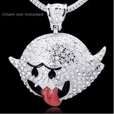 Super Mario Bros Boo Inspired Silver Plated Hip Hop Pendant