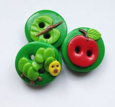Caterpillar set of 3 polymer clay buttons by ayarina on Etsy, $5.25