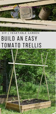 garden projects Build this simple DIY Tomato Trellis for raised bed gardening. Use twine and wood to create the best way to grow and hold up tomatoes. Tomato Trellis, Diy Trellis, Tomato Cages, Garden Trellis, Garden Gate, Tomato Planter, Cucumber Trellis, Box Garden, Trellis Design