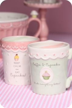 "Cute cupcake mugs from Grasslands Road  ""Keep Calm and Eat Cupcakes!"" ""Coffee & Cupcakes Make Everything Better!"" #Ceramic #SweetSoiree #GrasslandsRoad"