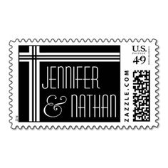 Wedding Bride and Groom Stamp - Black and White #wedding #stamps #love #marriage #romance #bride #groom #jaclinart #love #postage #black #white