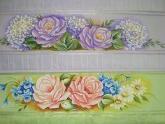 Toalhas-Pintura em tecido Rosas,Hortencias - Artes em Crochê e Pintura