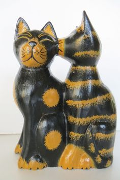 "8"" KISSING CATS cat LARGE FIGURINE,WOOD, HANDMADE"